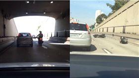 影/不爽汽車擋路 機車騎士「耍狠踹車」糗跌倒 圖/翻攝yt
