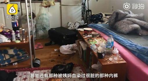 大陸一名留韓女子半年前有事回國,將在韓國的租屋租給一名大陸女留學生,沒想到對方竟不繳房租,還將房子弄得跟「豬圈」一樣,房內地板都是使用過的保險套和被血染的髒內褲。受害房東氣得po出鄒女的照片、護照,希望大家可以多加小心。(圖/翻攝自梨視頻)