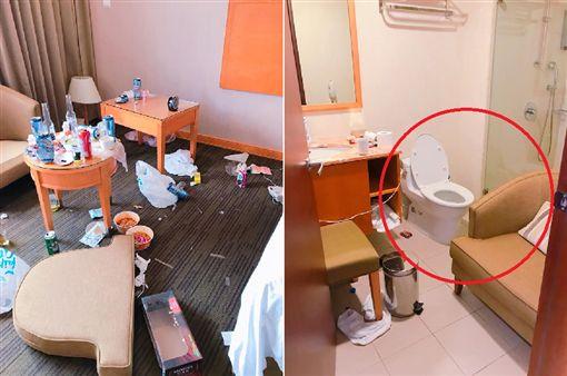 ▲奧客飯店轟趴…房務人員一開門傻眼!4照羞恥崩壞。(圖/翻攝爆料公社)