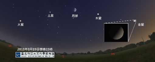 英仙座流星雨極大期12日登場(1)年度3大流星雨之一的英仙座流星雨極大期將於12日、13日登場,有趣的是,19日晚間7時左右,月亮、金星、木星、土星與火星一字排開,月亮居中,各星約等距相對,屬難得一見的景色。圖為模擬星空。(台北市天文館提供)中央社記者梁珮綺傳真 107年8月10日