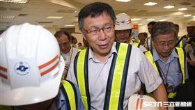 台北市長柯文哲視察傑森環狀線十四張站。(圖/記者林敬旻攝)