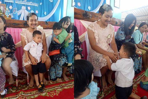 學校母親節活動「單親爸穿洋裝」!忘刮鬍孩子笑了 網友卻哭了Kornpat Ae Sukhom臉書