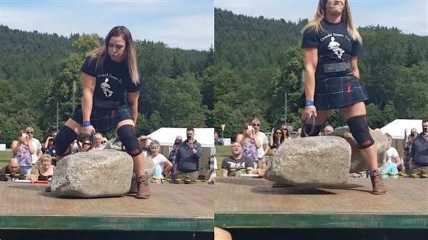 正妹護理師舉起「322公斤巨石」 圖/YT
