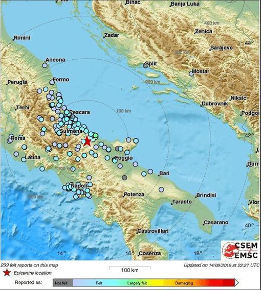 義大利南部莫利塞(Molise)發生規模4.7地震。目前還未傳出任何傷亡。(圖/翻攝自推特)