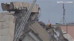 義大利熱那亞(Genoa)莫蘭迪橋(Ponte Morandi)在當地時間14日中午發生倒塌意外(圖/AP影音截圖)