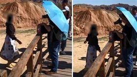 大陸甘肅張掖市的丹霞地質公園,因其與眾不同的岩石色彩而舉世聞名。但日前有一名大陸女遊客為了拍照,直接翻越欄杆踩在丹霞地貌上,工作人員上前勸阻還遭嗆「我都跟你說了馬上出來了,叫什麼叫」。對此,工作人員表示,一個遊客的腳印要60年才可能恢復原貌,但對於違規的遊客,目前景區無任何辦法處罰。(圖/翻攝自微博)