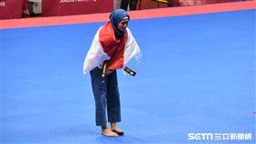 跆拳品勢印尼Defia Rosmaniar拿下地主首面金牌。(圖/記者王怡翔攝)