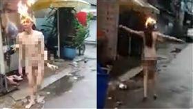 LiveLeak,外國,少女,著火,赤裸,遊街,宣傳,喇叭,頭髮,裸體 圖翻攝自LiveLeak https://goo.gl/WPPnBN