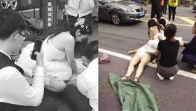 「長髮大捲女醫」穿白紗跳車跪地CPR 結婚路過救嬤:我該做的(圖/翻攝自微博)