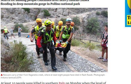 國家公園山洪爆發 10遊客魂斷南義義大利,波里諾國家公園,暴雨,山洪,觀光客翻攝自推特、《衛報》