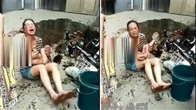大陸陝西一名媽媽日前載女兒、兒子買早餐時,兒子竟抓了機車把手「誤催油門」,直接撞上攤販的油鍋,熱油當場朝他頭部淋了下來,造成燒傷面積達60%,身體則有50%的三度燒燙傷,目前還未脫離險境。(圖/翻攝自微博)
