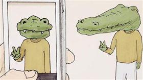 日本插畫家keigo繪畫出鱷魚的生活不便。(圖/翻攝自keigo IG)