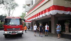 蘇丹公寓發生火警,所幸中華隊所住的大樓並未受到影響。(圖/中華奧會提供)