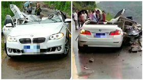 中國大陸一輛BMW遭落石擊中,車上一家三口當場慘死(圖/翻攝自微博)