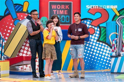 許孟哲、阿弟(蕭景鴻)錄製《上班這黨事》圖/TVBS提供