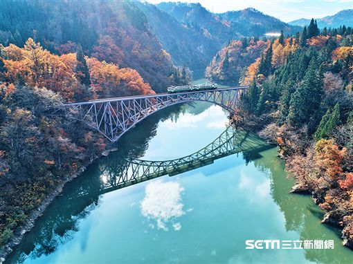 賞楓,「只見線列車」是日本東北著名的賞楓鐵道。(圖/易遊網提供)