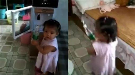 揪感心!外公癱瘓在床 「零血緣」1歲孫女餵食:嘴嘴啊(圖/翻攝自秒拍)