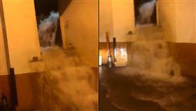 三多商圈再淹!停車場成瀑布 看完電影「真的雨神同行了」(圖/翻攝自爆廢公社臉書)