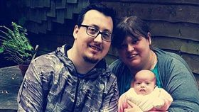 艾倫和男同志友人湯姆森成功生下一名女嬰。(圖/翻攝自DailyMail)