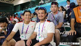 ▲雅加達亞運香港棒球隊選手趙嗣淦(左起)、Matthew Andrew HOLLIDAY與廖浩延。(圖/記者蕭保祥攝影)