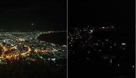北海道規模6.7強震後造成大規模停電,函館夜景瞬間消失。(圖/翻攝「@hiyori_ol 」推特)