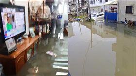 淹水噩夢重演…台南雨下不到十分鐘 水灌民宅「及膝難行」 圖翻攝自林燕祝、爆料公社臉書