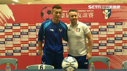 ▲中華足球隊總教練懷特與隊長陳柏良。(圖/記者林辰彥攝影)