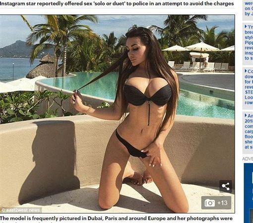 俄羅斯女模失控打警察,還想以性服務換免罰。(圖/翻攝自每日郵報)