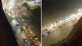 至高點俯瞰淹水!新生南路慘變一線道 淹水,豪雨,大安森林公園,新生南路 翻攝畫面