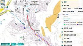 本次淹水的基隆新西街有先前已被推估出為淹水風險區。(圖/國家災害防救科技中災害潛勢地圖網站)