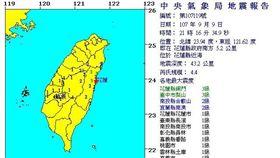 地牛翻身!21:16花蓮發生規模4.4地震(圖/氣象局)