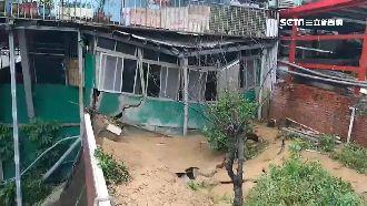 暴雨狂灌基隆 「泥流瀑布」毀民宅