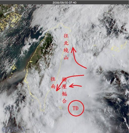 鄭明典指出,台灣東南海面熱帶低壓旋轉特徵更明顯,有增強趨勢。(圖/翻攝鄭明典臉書)