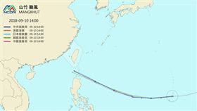▲10日下午2時各國模式預估山竹路徑。(圖/翻攝自天氣雨氣候監測網)