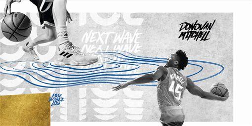 在全新一季的NBA賽場上,將可看見Donovan Mitchell在場上實著PRO BOUNCE 鞋款奮戰。(圖/adidas提供)