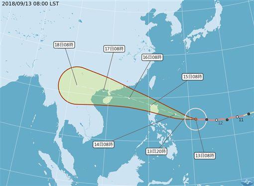 強颱山竹來了!陸警發布機率降低 台南以北週末罕見有焚風潛勢路徑圖,翻攝自中央氣象局官網