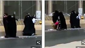 沙烏地阿拉伯有5名女人在利雅德街頭打群架,其中一名女子一手抱著小孩一手打架,結果打得太激烈,孩子被當成玩具亂摔,坐在路邊不斷哭泣。不少網友看到後,紛紛直喊「別傷及無辜啊!」(圖/翻攝自每日郵報)