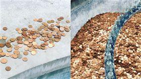 ▲一天後硬幣幾乎被偷光。(圖/翻攝自annabrownsted Instagram)
