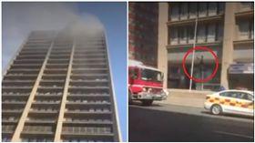 南非消防員墜樓死亡(圖/翻攝自推特)
