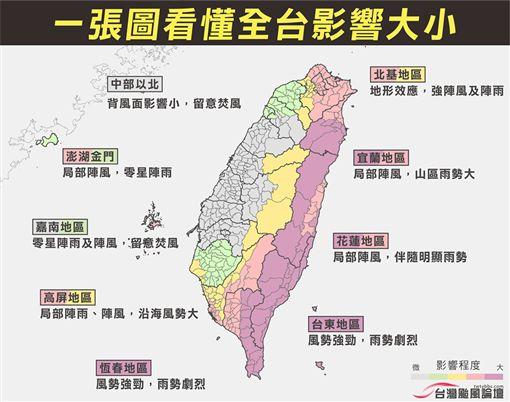 山竹強颱對全台影想(翻攝自臉書台灣颱風論壇|天氣特急)