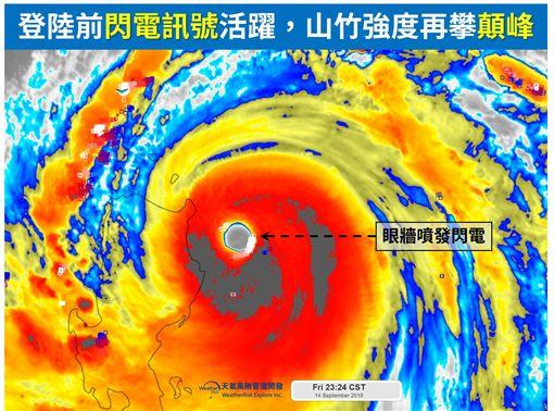 山竹極限還沒到!眼牆「噴發閃電」強度恐再攀巔峰圖翻攝自天氣風險 WeatherRisk臉書