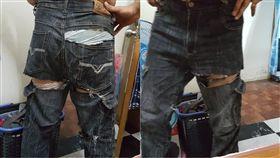 褲子,破褲,蹲下,品質,爆廢公社 圖/翻攝自臉書爆廢公社