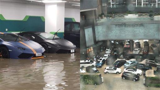 山竹,大牛,藍寶堅尼,淹水,停車場,巨浪,颱風,海浪 圖/翻攝lihkg討論區