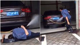 洗車,師傅,功夫,一字馬,劈腿(圖/翻攝自微博)