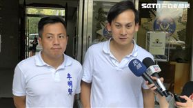 新北市議員候選人葉元之(右)及台北市議員候選人李明賢(左)攜手前來台北市刑警大隊報案(楊忠翰攝)