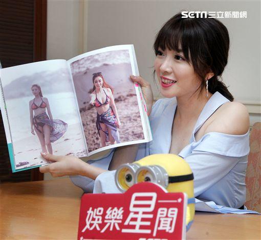 成語蕎接受三立娛樂星聞專訪。(記者邱榮吉/攝影)