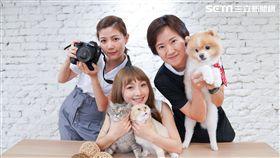 主持人Dash(左)與來賓米娜(中)以及寵物攝影師Min 將自己心愛的寵物拍出網美照。 攝影師Min專注的為寵物拍攝。 主持人Dash與寵物攝影師Min鼓勵毛小孩。 主持人Dash發揮攝影師長才拍攝貓皇。