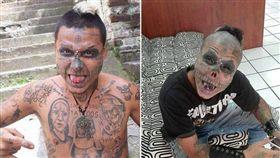 驚悚!男動刀切鼻、割舌成「活骷髏」 刺青,骷髏,殭屍男孩,手術 翻攝自Kalaca Skull IG
