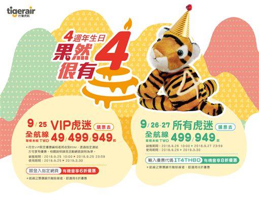 台灣虎航,4週年,/台虎提供