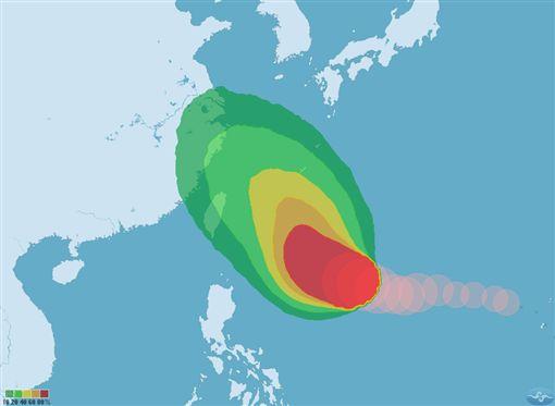 潭美颱風又變胖!氣象局:預估24日午後變強颱。(圖/翻攝氣象局)